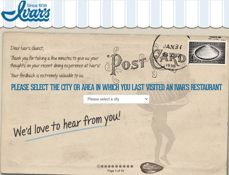 Ivars Restaurants Survey