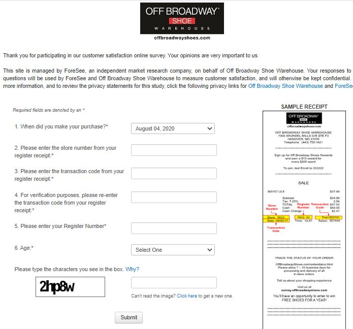 Off Broadway Shoe Warehouse Survey